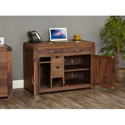 Dark Wood Walnut Hidden Home Office Study Computer Desk Storage Cupboard Unit