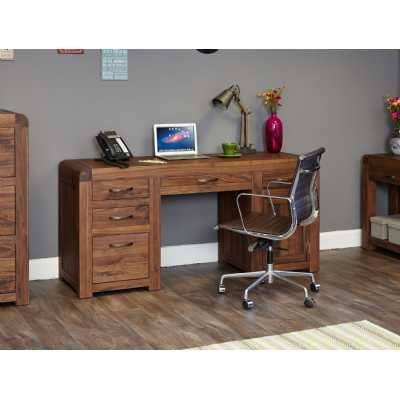 Large Walnut Twin Pedestal Home Office Study Computer Desk Dark Wood
