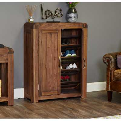 Solid Walnut Slim Shoe Storage Cupboard 2 Doors Modern Dark Wood Finish