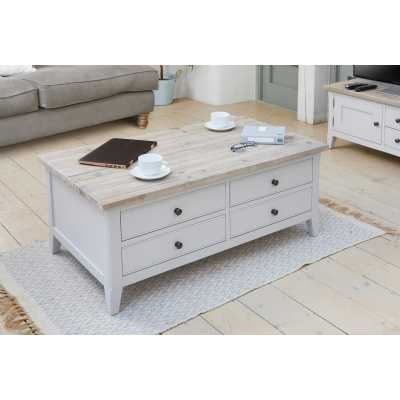 Grey Painted Large Coffee Table with Limed Wooden Top 4 Drawers and Lift up Top Lid