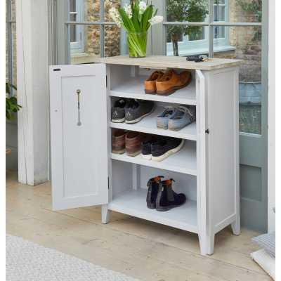 Grey Painted Shoe Storage Cupboard