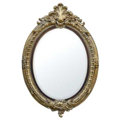 Gold Gilt Leaf And Brown Oval Bevelled Mirror
