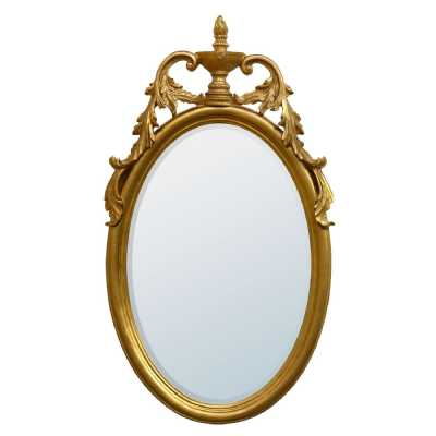 Gold Gilt Leaf Oval Mirror
