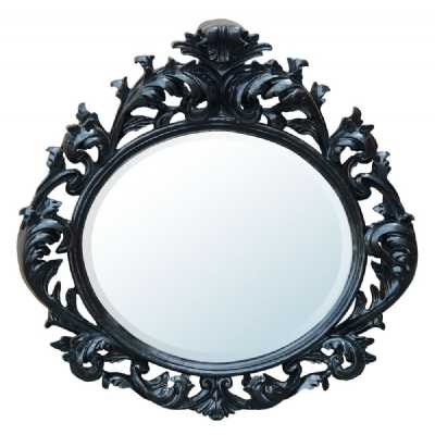 Baroque Black Oval Bevelled Mirror