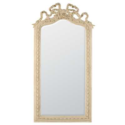 Antique White Tall Wall Mirror with Carved Detail