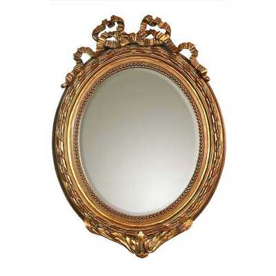 French Ribbon Gold Gilt Leaf Bevelled Mirror