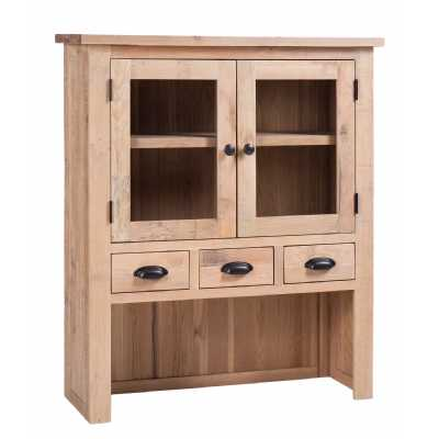 Vancouver Sawn White Wash Solid Oak Drawer 2 Door Hutch Dresser Top 100x35x115cm
