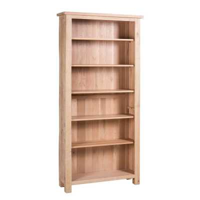 Vancouver Sawn White Wash Tall Bookcase with 5 Adjustable Shelves