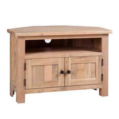 Vancouver Solid Oak Sawn White Wash Corner TV Media Entertainment Unit