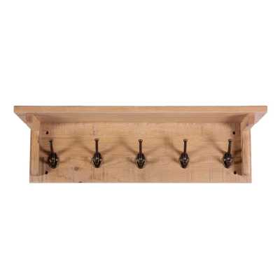 Vancouver Sawn White Wash Solid Oak Wall Mounted Coat Rack with 5 Hooks