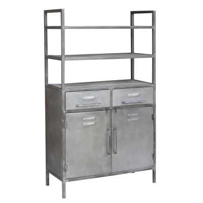 Industrial Open Shelving Unit with 2 Drawers And 2 Doors