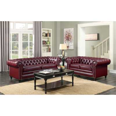 Faux Leather Chesterfield 3+2 Seater Sofa Oxblood Red Suite