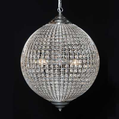 Modern Round Glass Droplet Globe Chrome Medium Chandelier Ceiling Light