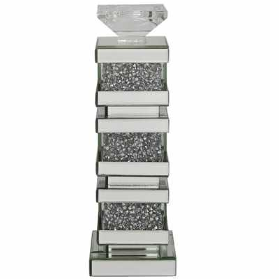 Modern Sparkle Salento Mirrored Gass Candle Holder with Crystals