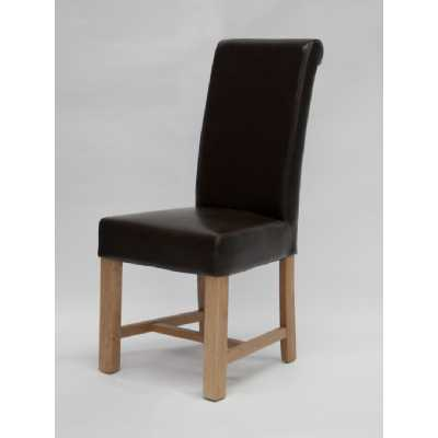 Chunky Scroll dining chair (Brown Oak) BYCAST