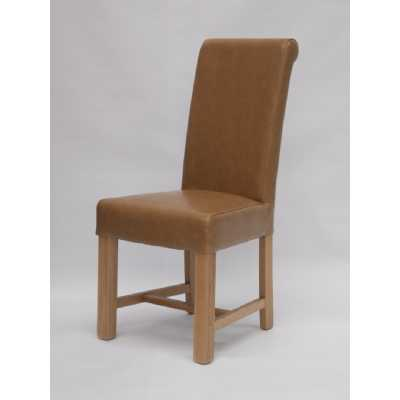 Chunky Scroll dining chair (Tan Oak) BYCAST