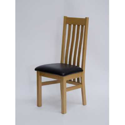 Perugia Oak Dining Chair with Brown seat pad