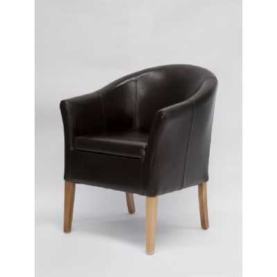 Tub Leather Chair (Brown Oak Legs) BYCAST