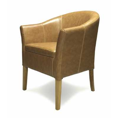 Tub Leather Chair (Tan Oak Legs) BYCAST