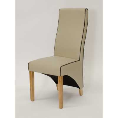 Wave Bone Noir Contrast piping Dining Chair