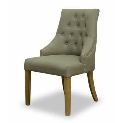 Olive Green Fabric Upholstered Curved Dining Chair With Crome Stoods