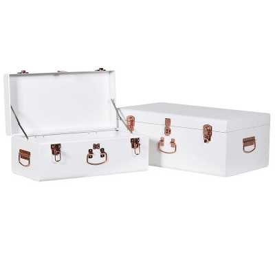 White Metal Storage Trunks Set of 2