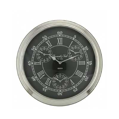 Nickel Silver and Black Round World Time Zone Wall Clock