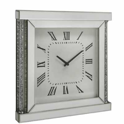 Modern Mirrored Glass Watch Effect Wall Clock With Crystals