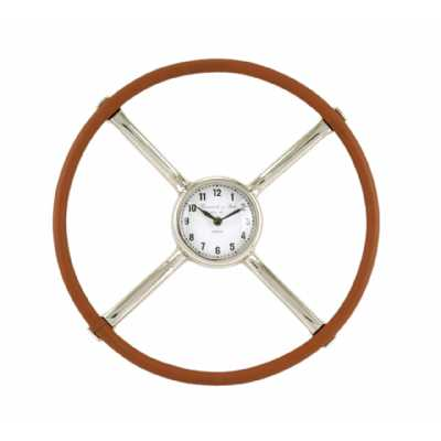 Nickel And Tan Round Leather Vintage Style Steering Wheel Wall Clock