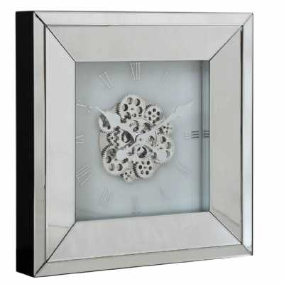 White Mirrored Square Clear Gear Skeleton Wall Clock