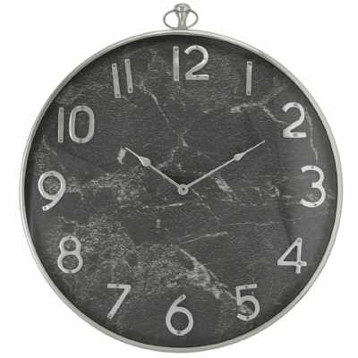 Grey Marble Effect And Nickel Wall Clock