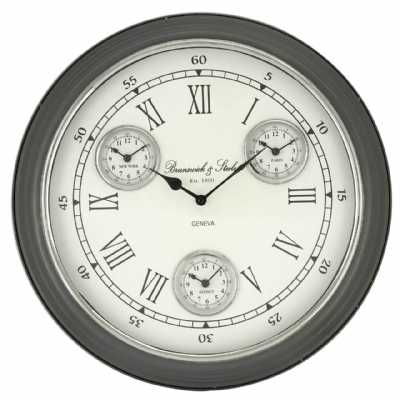 4 Time Zone White And Grey Wall Clock