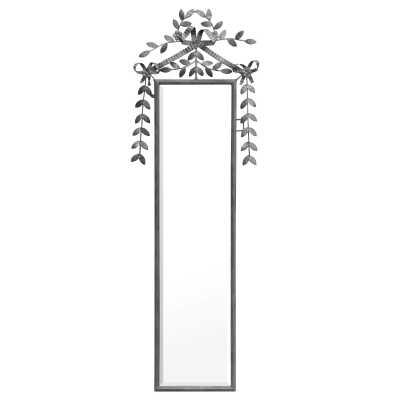 Garland Tall Slim Antique Silver Bevelled Metal Framed Decorative Wall Mirror