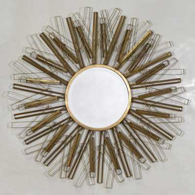 Sunburst Geometrical Metal Framed Mirror Antique Gold