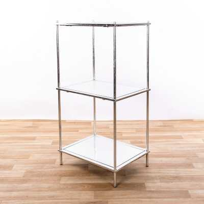 Single Storage Silver Gilt Leaf Metal Shelving Unit with Mirror Glass