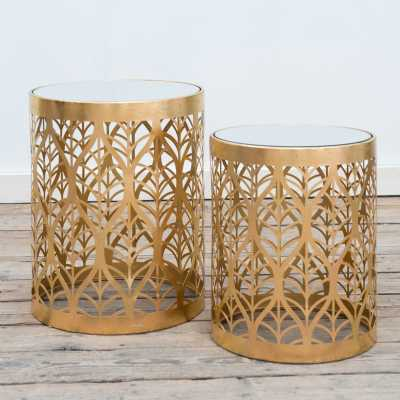 Gin Shu Metal Nest Of Tables Gold Gilt Leaf