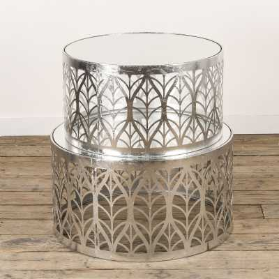 Gin Shu Metal Nest Of Coffee Tables Silver Gilt Leaf Extra Package