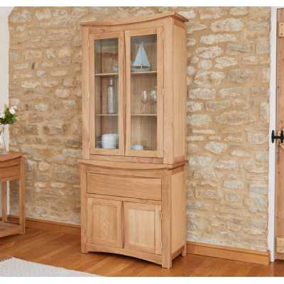 Roscoe Contemporary Natural Oak Wood Kitchen 2 Door Small Glazed Display Cabinet Dresser