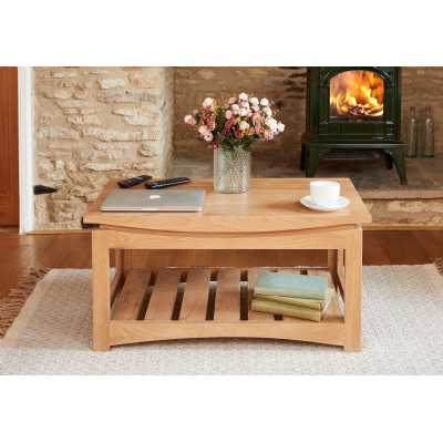 Modern Light Solid Oak Coffee Table with Open Wood Plank Base