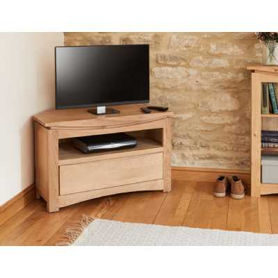 Modern Light Solid Oak Corner Television Cabinet TV Media Unit with 1 Drawer Base