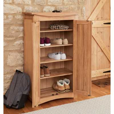 Modern Light Solid Oak Shoe Storage Cupboard 2 Doors
