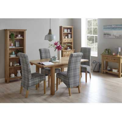 Modern Small Rectangular Extending Dining Table with 4 Grey Tartan Chairs Dining Set