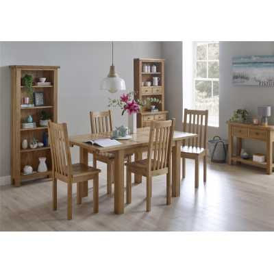 Modern Small Rectangular Extending Dining Table with 4 Chairs Dining Set