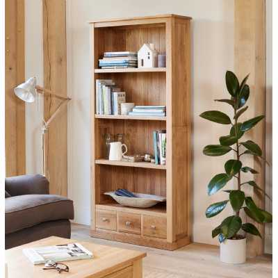 Solid Light Oak Large Modern Tall Bookcase with 3 Drawer Base and 3 Fixed Shelves