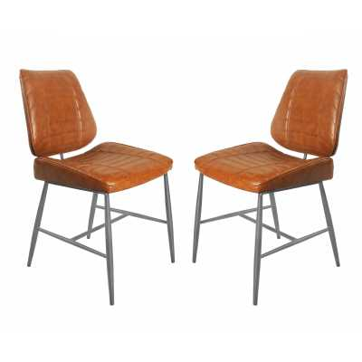 Pair Vintage Car Seat Style Cortina Vegan Tan Brown Leather Dining Chairs