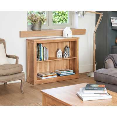 Solid Light Oak Low Window Bookcase 1 Shelf Display Unit