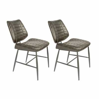 New London Vegan Leather Chair Grey SET OF 2