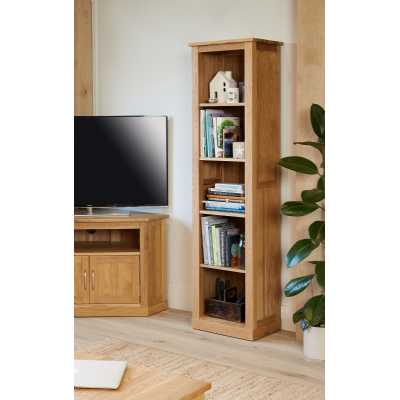 Solid Light Oak Modern Tall Narrow Slim Alcove Bookcase 4 Shelves
