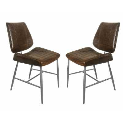 New London Vegan Leather Chair Chestnut Vintage SET OF 2