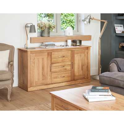 Solid Light Oak Large Sideboard 3 Middle Drawers 2 Side Storage Cupboards